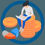 a jövedelemteremtés ikon meggazdagodik