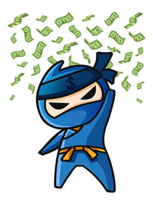 ninja hulló pénzzel