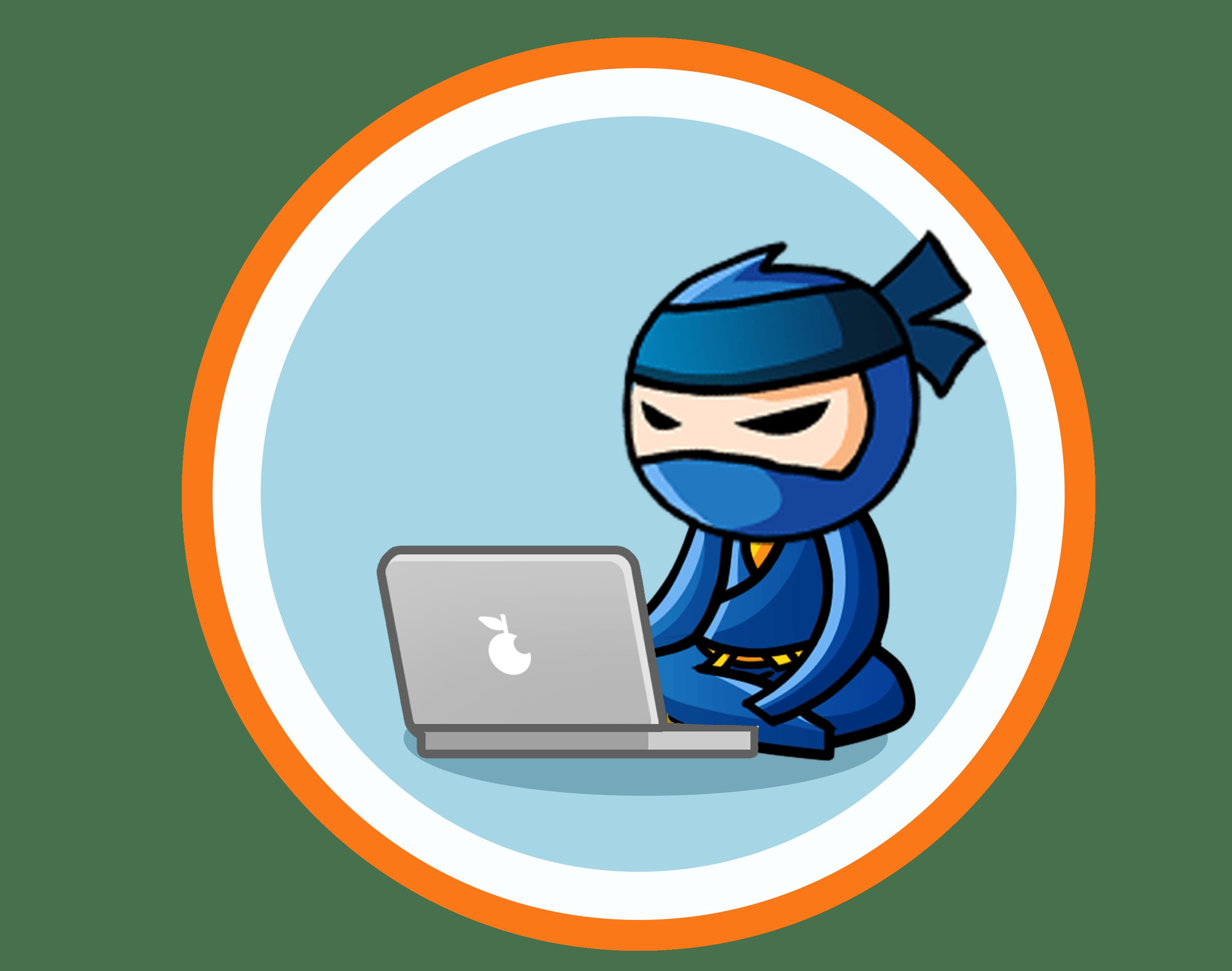 Ninja használ laptop